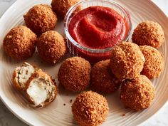 These golden, crunchy balls are like inside-out chicken Parmesan: gooey cheese is encased in Italian-seasoned chicken. Marinara is the perfect dipping sauce.