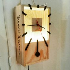 Lamp and clock made out of a wine wooden box.