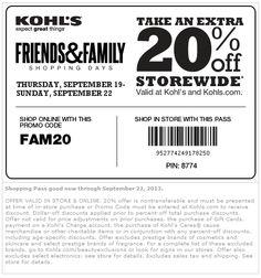 Pinned September 19th: 20% off at #Kohls, or online via #promocode FAM20