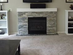 Sierra Blue Quartzite Ledger Stone Fireplace Surround