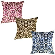 image of Ikat Embroidered Square Throw Pillow
