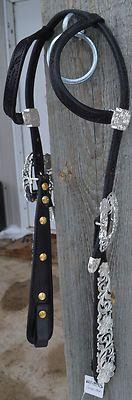Kathy's Show Western Headstall Bridle Black Leather Horse AQHA Silver Teardrop | eBay