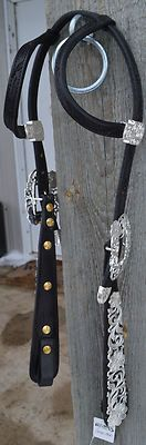 Kathy's Show Western Headstall Bridle Black Leather Horse AQHA Silver Teardrop   eBay
