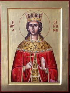 Irene by Alexandra Kaouki of Crete Byzantine Icons, Byzantine Art, St G, Christian Church, Orthodox Icons, Catholic, Saints, Princess Zelda, Crete