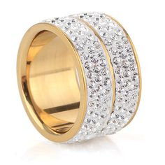 18K Gold Plated Classic design Crystal Wedding Rings women