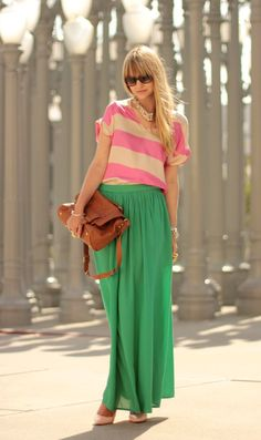 cute maxi skirt and striped shirt Fabulous Ways to Wear a Maxi Skirt for Spring