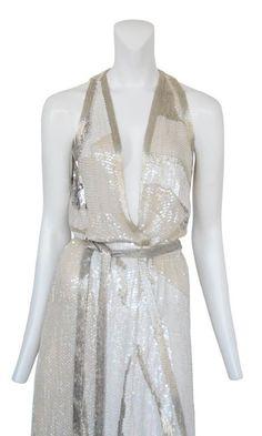 ff544d78 Vintage Halston Dress 70s Sequin Beaded Long Gown by JettVintage Halston  Vintage, Disco Costume,
