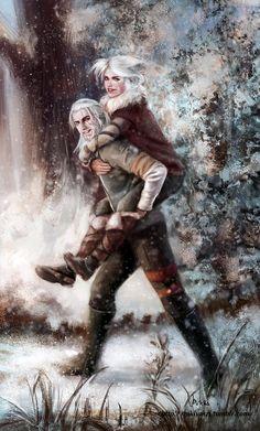 Winter fun with Geralt and Ciri by NikiVaszi