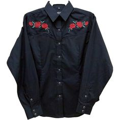 Womens Red Rose Piped Retro Embroidered  Cowboy shirt.