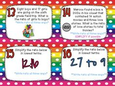 Identifying Ratios & Equivalent Ratios Task Cards CCSS 6.RP.1