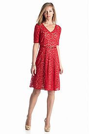 Julian Taylor All-over Lace Belted Fit and Flare Dress