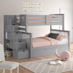 Harriet Bee Tena Stairway Twin over bunk bed with pull-out bed frame color . - Harriet Bee Tena Stairway Twin over bunk bed with pull-out bed frame Color: … – # extendable - Bunk Beds With Drawers, Bunk Beds With Storage, Bunk Bed With Trundle, Full Bunk Beds, Bunk Beds With Stairs, Bed Storage, Queen Bunk Beds, Bunk Bed Steps, Unique Bunk Beds