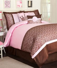 Take a look at this Brown & Pink Leopard Juvy Comforter Set by Lush Décor on #zulily today!