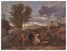 니콜라 푸생, <가을(약속된 땅으로부터 가져온 포도송이)>,1960~1964.   - 작품해설 : 이 작품은 푸생이 1960-64년까지 제작한 '사계절' 연작 중 《가을》이다. 커다란 포도를 기분 좋게 메고 가는 두 남자의 모습이 두드러진다. 화면 왼쪽의 무성한 나무는 구원의 상징이며 대조적으로 가장 왼쪽의 메마른 나무는 죄를 상징한다. 화면 중앙의 매우 굵은 포도송이는 십자가에 달린 그리스도와 성찬을 가리킨다.    - 포도(포도덩굴, 포도주 등)의 의미 : 그리스도의 수난과 최후의 만찬을 가리킴.   - 나의 감상 : 화가가 그리스도를 얼마나 중요하게 생각하여 표현하려고 했는지가 포도송이의 비정상적인 크기에 잘 드러나는것 같다. 다른 배경들은 비교적 흐릿한데 비해 화면 중앙의 두 사람과 포도가 선명해서 잘 부각되고 있는 것 같다. 부드러운 뒷배경 묘사와 그림 전반에서 느껴지는 평화로운 분위기에서 그리스도로 인해 얻은 평안과 안정감이 잘 느껴진다.