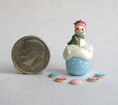 :: Crafty :: Clay ::☃ Christmas ☃:: Miniature Cute Snowman Cookie Jar with Cookies by ArtisticSpirit