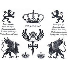 Set of 2 Waterproof Temporary Tattoo Stickers Royal Crown Lion English Letters Proverb Design Makeup Tools ** See this great product. (This is an affiliate link) Hidden Tattoos, Fake Tattoos, Tatoos, Realistic Temporary Tattoos, Crown Tattoo Design, Free Tattoo Designs, Tattoo Paper, English Letter, Sticker Paper