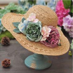 Wide brim coffee straw hat for girl retro flower decoration