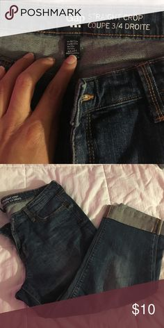 Gap straight crop jeans Blue wash cropped Jean size 16 GAP Jeans Ankle & Cropped