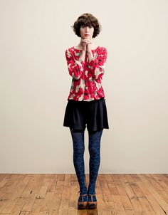 Miranda July Forever Dot Com Colored Tights Outfit, Blue Tights, Boho Fashion, Vintage Fashion, Fashion Outfits, Miranda July, Librarian Chic, Beautiful People, Street Style