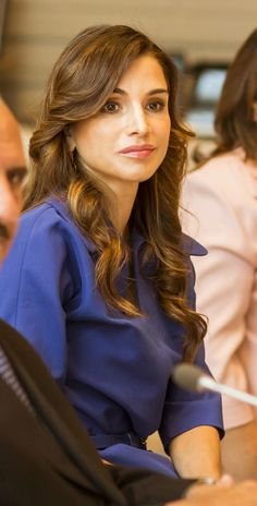 ♔♛Queen Rania of Jordan♔♛... June 14, 2015, Queen Rania, attended a meeting with the Minister of Education
