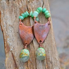 Handmade Copper Forest Dew Drop Earrings by KristiBowmanDesign, $49.00