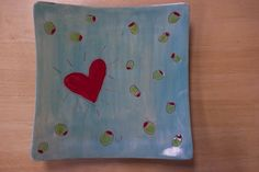 """""""olive u"""" hand-painted heart platter #pottery"""