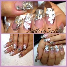 Bedazzled-Bling-Bling Close your eyes to much sparkle will hurt your   Chain, 3D, flower, glitter,Swarovski Sculpted Nails Nice C curve