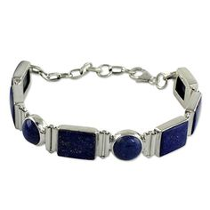 Shop for Handmade Sterling Silver Connected Lapis Lazuli Link Bracelet (India). Get free delivery On EVERYTHING* Overstock - Your Online Jewelry Destination! Handmade Sterling Silver, Sterling Silver Bracelets, Lapis Lazuli Jewelry, Silver Work, Jade Jewelry, Link Bracelets, Custom Jewelry, Jewelry Gifts, Gemstones