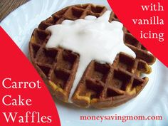 Carrot Cake Waffles with Vanilla Icing: a winning recipe our family loves!