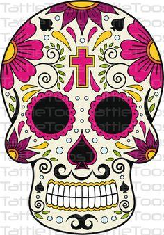 Mexican Sugar Skull Self Adhesive Vinyl Sticker Sugar Skull Halloween, Sugar Skull Costume, Sugar Skull Makeup, Sugar Skull Art, Sugar Skulls, Halloween Makeup, Halloween Costumes, Halloween Halloween, Caveira Mexicana Tattoo