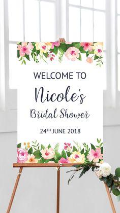 Bridal shower sign printable, bridal shower decorations, bridal shower ideas, pink floral kitchen tea decor welcome signs from Pink Summer Designs on Etsy
