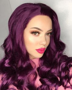 Fuchsia / Deep Pink Long Straight Synthetic Lace Front Wig - All Synthetic Wigs Synthetic Lace Front Wigs, Synthetic Wigs, Fancy Makeup, Beauty Make-up, Christmas Makeup, Wig Hairstyles, Long Hair Styles, Face, Model