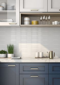 Discover our Ceramic Wall from Roca Tile USA: Indoor and outdoor ceramic tiles Grey Kitchen Cabinets, Kitchen Cabinet Colors, Kitchen Redo, Home Decor Kitchen, Kitchen Interior, Home Kitchens, Glossy Kitchen, Modern Kitchen Backsplash, Backsplash For White Cabinets