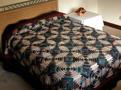 Pineapple Quilt -- outstanding skillfully made Amish Quilts from Lancaster (hs334)