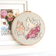 Items similar to Kids Personalized - Embroidery Hoop Art - Felt Flowers - Embroidered Name Sign by Catshy Crafts on Etsy