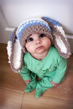 3 to 6 Months Bunny Hat Striped Beanie  Crocheted by BabaMoon, $20.00