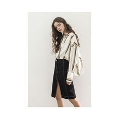 Striped Oversized High Low Blouse ($75) ❤ liked on Polyvore featuring tops, blouses, multi, stripe top, oversized blouse, oversized tops, stripe blouse and striped top