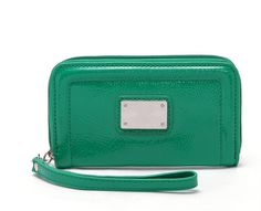 Women's Green PU Wristlet Purse