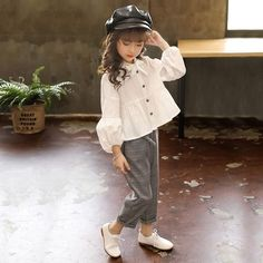Autumn Baby Blouses and Plaid Pants Fashion Girls Set – I sell what I love Little Girl Fashion, Toddler Fashion, Kids Fashion, Fashion Black, Stylish Dresses For Girls, Little Girl Dresses, Fashion Pants, Fashion Blouses, Fashion Skirts
