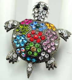 Colorful Turtle Statement Ring/Multicolor Rhinestone/Cocktail Ring/Gift For Her/Beach/Sea/Summer Jewelry/Under 20 USD/Adjustable