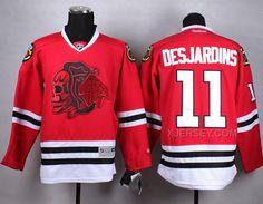 http://www.xjersey.com/blackhawks-11-desjardins-red-skull-jersey.html BLACKHAWKS 11 DESJARDINS RED SKULL JERSEY Only 47.31€ , Free Shipping!