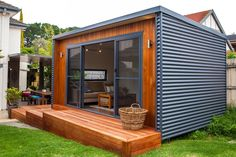 12 Ideas container house plans art studios for Inoutside Outdoor Rooms Backyard Office, Backyard Studio, Garden Office, Backyard Shed Man Cave, Tiny Backyard House, Tiny Guest House, Tiny House, Man Cave Shed, Garden Studio