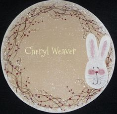 Handpainted White  Prim Easter Bunny Face  with by cherylweaver