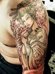 Beautiful Geisha Girl With Sword Tattoo On Shoulder
