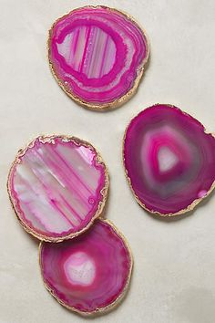 Gilded-Edge Agate Coasters - anthropologie.com