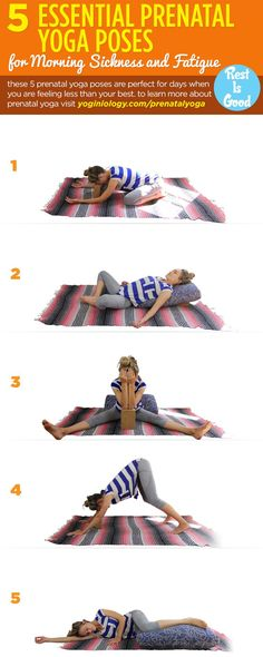 If pregnancy is leaving you feeling nauseous and exhausted, these five yoga poses can help at any trimester! Using a yoga block and bolster (or just sofa cushion) can help support you and apply pressure for instant relief! To learn more about prenatal y Prenatal Yoga Poses, Prenatal Workout, Pregnancy Workout, Pregnancy Info, Pränatales Training, Pilates, Baby Yoga, Feeling Nauseous, Yoga Block