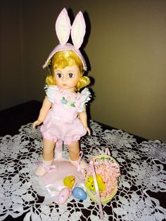 Easter Bunny, a limited edition. From the Child At Heart shop. Matching doll stand by Ann Rast