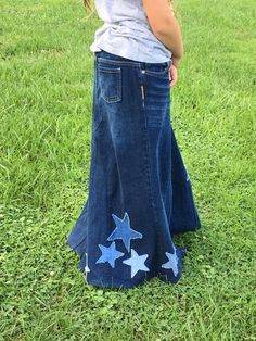 fcb8e4c8e Girls Modest Denim Skirt with Stars-Long, Full Custom Made Denim Skirts for  Girls sizes 5,6,7,8,10,1
