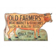 """Casual Country MDF Cow Shaped """"Old Farmers Market"""" Wall Decor, 30-1/2""""L x 18""""H"""