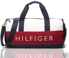 ORIGINAL & NEW TOMMY HILFIGER LARGE DUFFLE GYM BAG | NAVY, RED, WHITE |